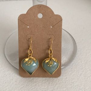 2 Natural jade stone earring set gold tone just in